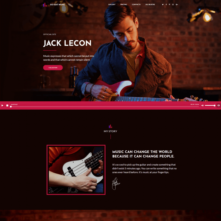 Go Edit single page website template perfect for musicians, song writers or upcoming artists
