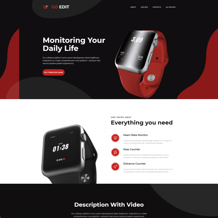 Go Edit single page website template for Technology companies or businesses