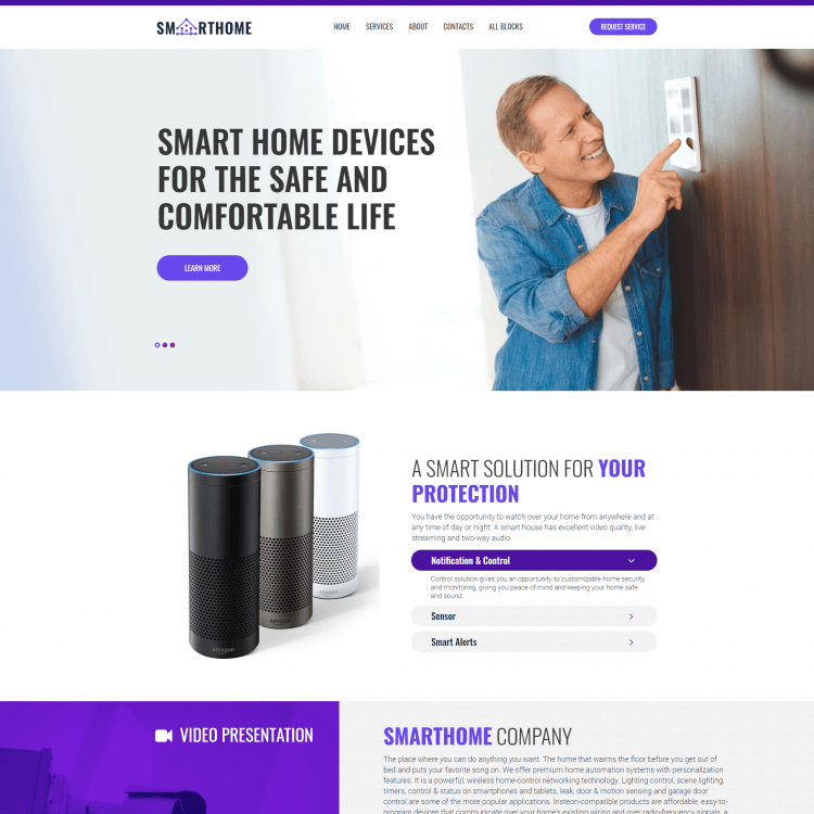 Go Edit single page website template for smart home companies or Utilities businesses
