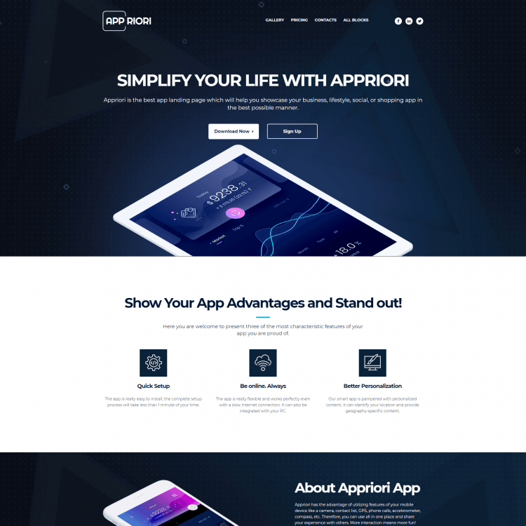 APP Single Page Template