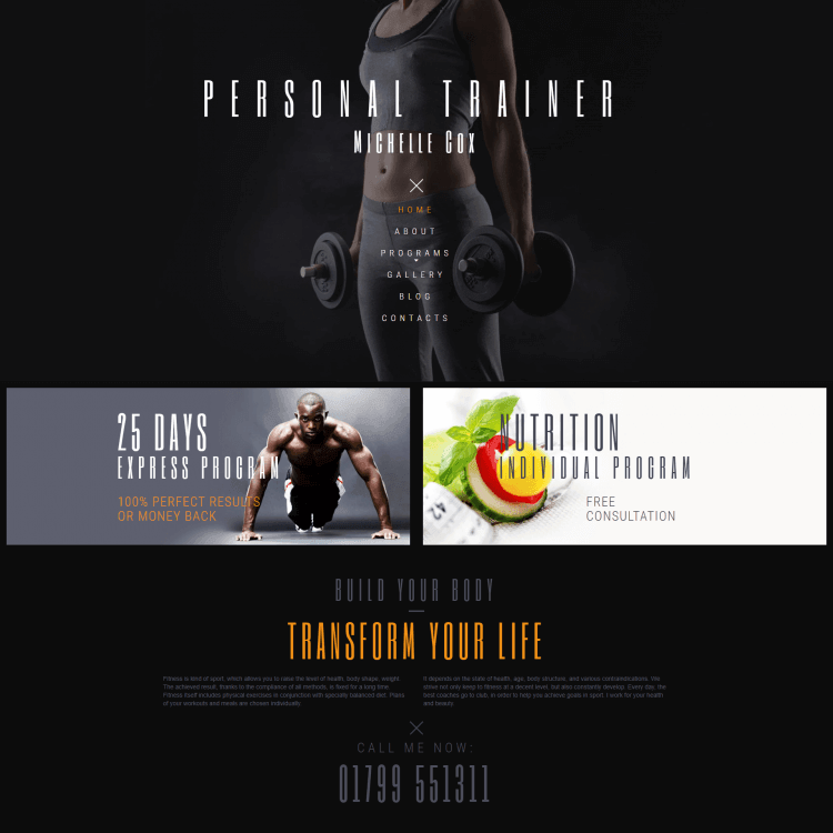 Image of Personal Trainer multi page website template for Go Edit