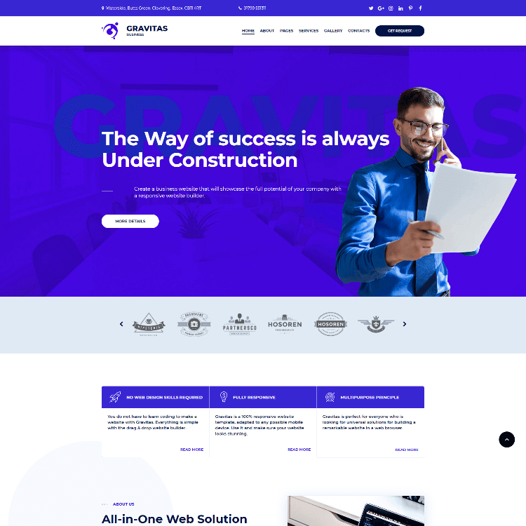 Go Edit Multi page website template for the service industries