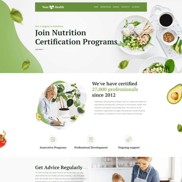 Nutrition landing Page Template |  1