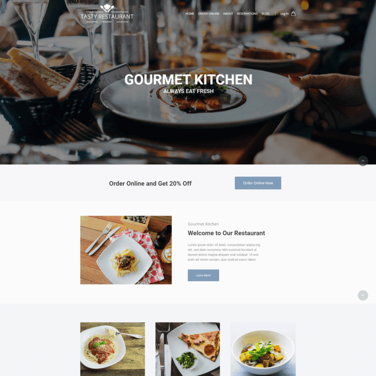 Kitchen ecommerce website template