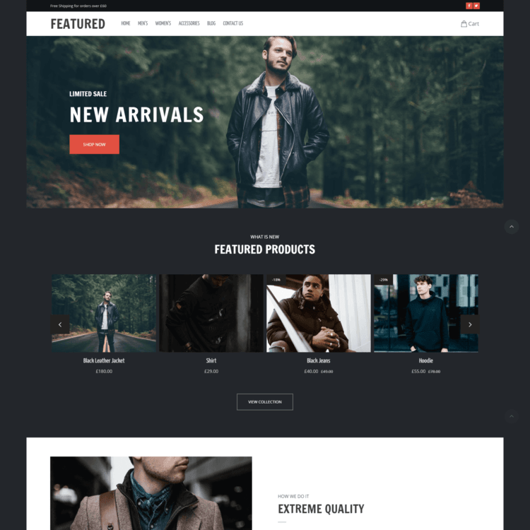 Featured ecommerce website template