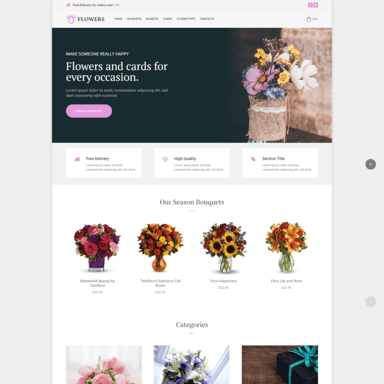 Flowers ecommerce website template