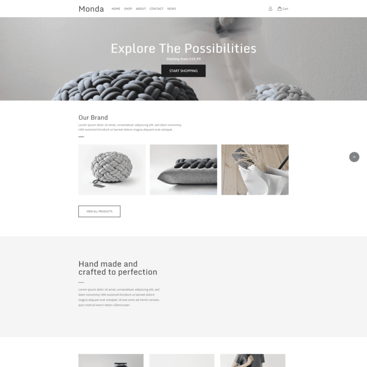 Handmade ecommerce website template