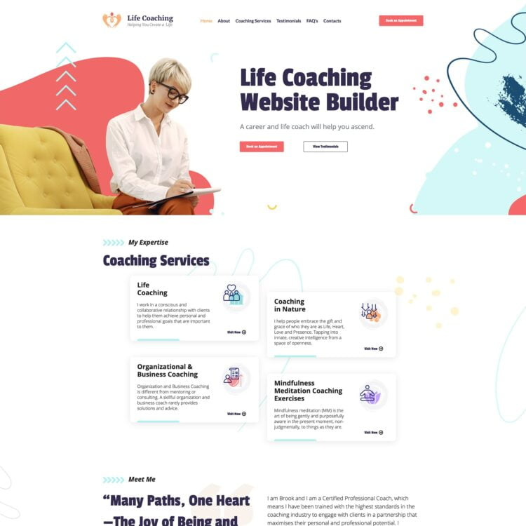 image of the life coach website template